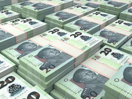 Money of Nigeria. Nigerian naira bills. NGN banknotes. 20 polymer. Business, finance, news background.