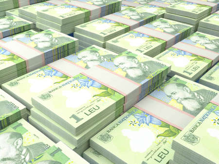 Money of Romania. Romanian leu bills. RON banknotes. 1 lei. Business, finance, news background.