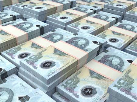 Money of Papua New Guinea. Papua New Guinean kina bills. PGK banknotes. 10 kina. Business, finance, news background.