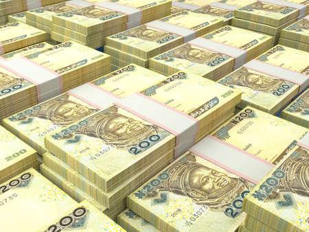 Money of Nigeria. Nigerian naira bills. NGN banknotes. 200 polymer. Business, finance, news background.
