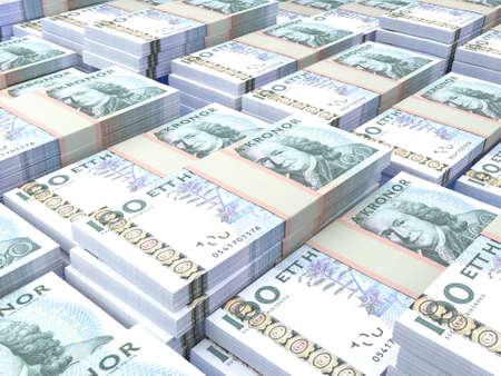 Money of Sweden. Swedish krona bills. SEK banknotes. 100 kronor. Business, finance, news background.