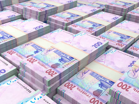 Money of Ukraine. Ukrainian hryvnia bills. UAH banknotes. 200 hryvni. Business, finance, news background.