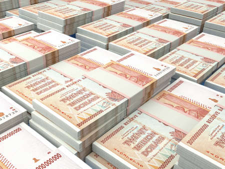 Money of Zimbabwe. Zimbabwean dollar bills. ZWL banknotes. 20 trillions dollars. Business, finance, news background. 免版税图像