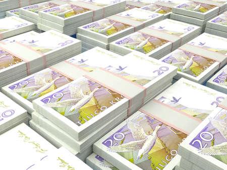 Money of Sweden. Swedish krona bills. SEK banknotes. 20 kronor. Business, finance, news background.