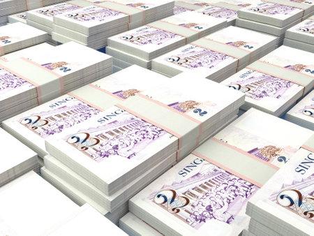Money of Singapore. Singapore dollar bills. SGD banknotes. 2 dollars. Business, finance, news background. 免版税图像