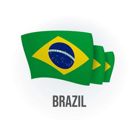 Vector flag of Brazil. Brazilian waving flag. Vector illustration.
