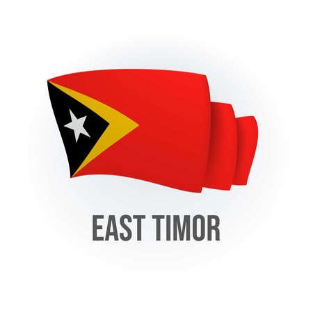 Vector flag of East Timor. Timorese waving flag. Vector illustration.