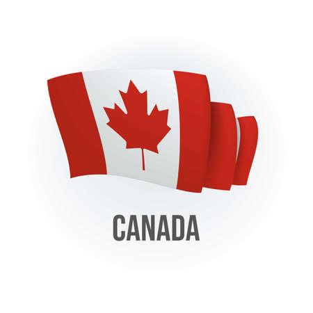 Vector flag of Canada. Canadian waving flag. Vector illustration.