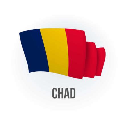 Vector flag of Chad. Chadian waving flag. Vector illustration.