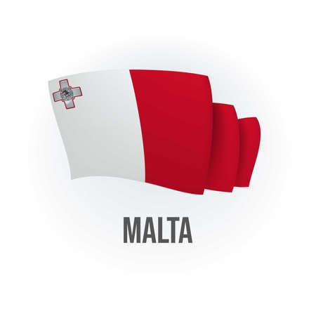 Vector flag of Malta. Maltese waving flag. Vector illustration. 矢量图像
