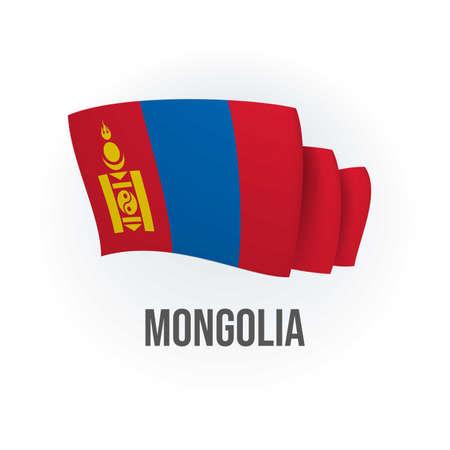 Vector flag of Mongolia. Mongol waving flag. Vector illustration.