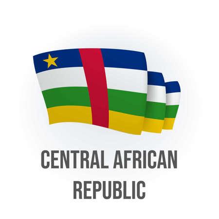 Vector flag of Central African Republic. Central African waving flag. Vector illustration. 矢量图像
