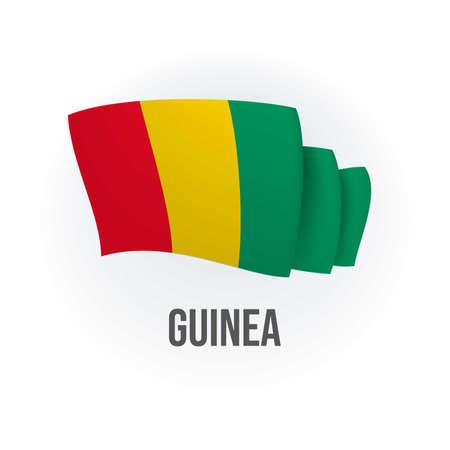 Vector flag of Guinea. Guinean waving flag. Vector illustration.