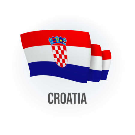 Vector flag of Croatia. Hong Kong waving flag. Vector illustration.