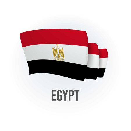 Vector flag of Egypt. Egyptian waving flag. Vector illustration. 矢量图像