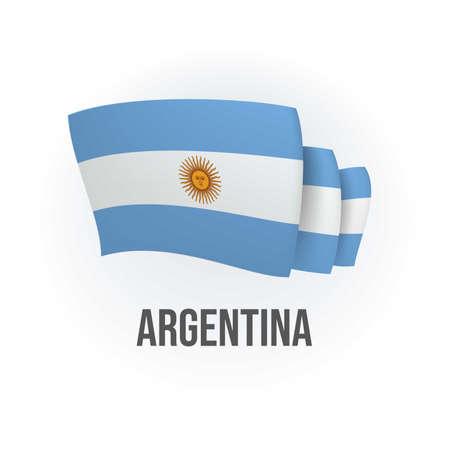 Vector flag of Argentina. Argentinian waving flag. Vector illustration. 矢量图像