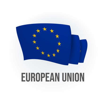 Vector flag of European Union. European waving flag. Vector illustration.