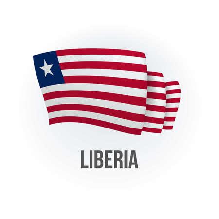 Vector flag of Liberia. Liberian waving flag. Vector illustration. 矢量图像