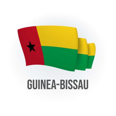 Vector flag of Guinea-Bissau. Bissau-Guinean waving flag. Vector illustration.
