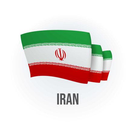 Vector flag of Iran. Iranian waving flag. Vector illustration.