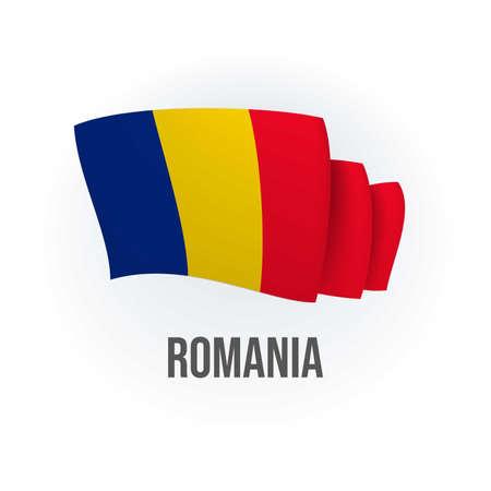 Vector flag of Romania. Romanian waving flag. Vector illustration.