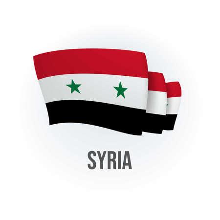 Vector flag of Syria. Syrian waving flag. Vector illustration.