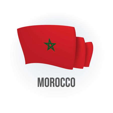 Vector flag of Morocco. Moroccan waving flag. Vector illustration. Ilustración de vector