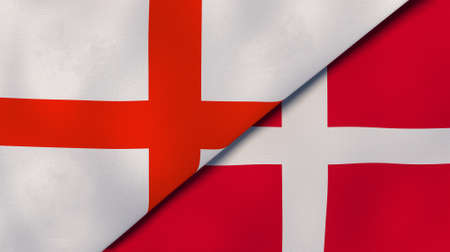 Two state flags of England and Denmark. High-quality sports background. 3d illustration