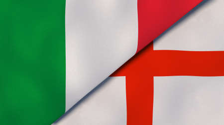 Two state flags of Italy and England. High-quality sports background. 3d illustration 免版税图像
