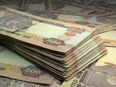 Money of United Arab Emirates. United Arab Emirates dirham bills. AED banknotes. 500 dirhams. Business, finance, news background. 免版税图像