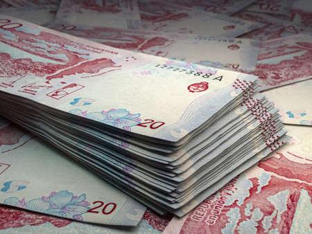 Money of Argentina. Argentine peso bills. ARS banknotes. 20 pesos. Business, finance, news background.