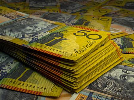 Money of Australia. Australian dollar bills. AUD banknotes. 50 dollars. Business, finance, news background.