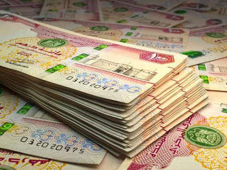 Money of United Arab Emirates. United Arab Emirates dirham bills. AED banknotes. 100 dirhams. Business, finance, news background. 免版税图像
