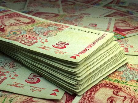 Money of Bulgaria. Bulgarian lev bills. BGN banknotes. 5 levove. Business, finance, news background. 免版税图像