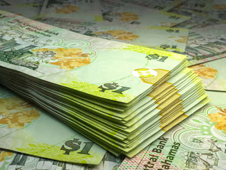 Money of Bahamas. Bahamas dollar bills. BSD banknotes. 1 dollars. Business, finance, news background.