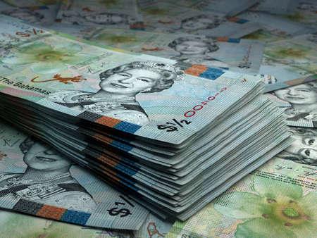 Money of Bahamas. Bahamas dollar bills. BSD banknotes. 05 dollars. Business, finance, news background.