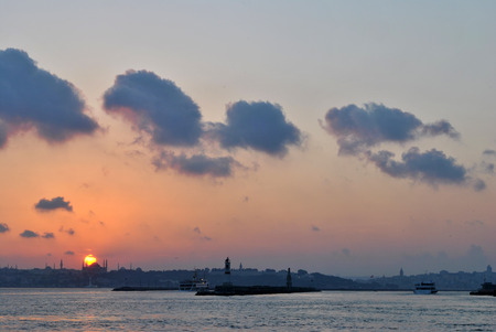 constantinople: Sunset over the Sea of ​​Marmara and over Constantinople