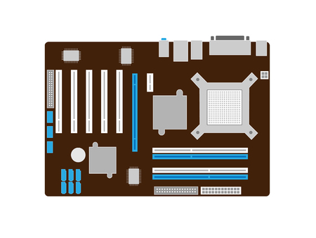 pci: Motherboard on a brown PCB