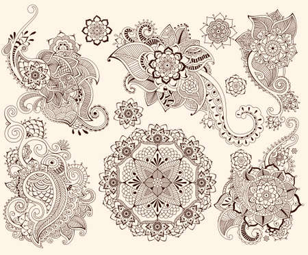 mandala: Floral mehndi ornamental elements