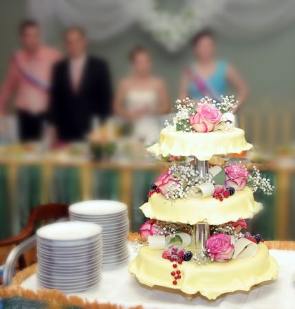Wedding pie with roses and berries Stock Photo