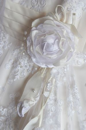 Part of a white dress for wedding decorated by an embroidery, a beads, the atlas, leaves, a rose.