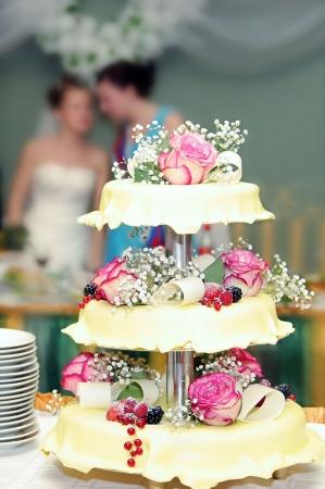Pastel de bodas con rosas y fresas Foto de archivo - 3648767