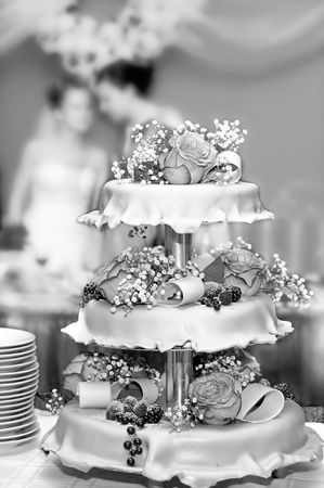 Wedding pie with roses and berries Stock Photo - 3648903
