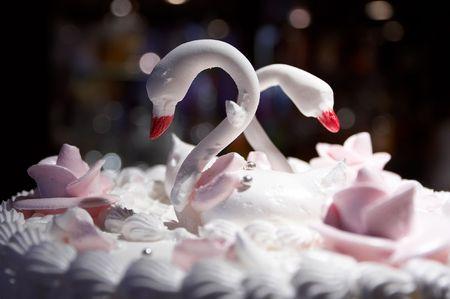 Wedding pie with swans photo