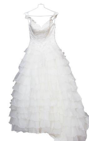 The wedding dress a veil,  fur coat, dress prepared for the bride Stock Photo - 3751688
