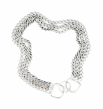 fetishes: The dog collar from a thick chain for large dogs isolated on a white background.
