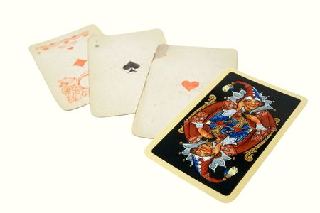 The old, shabby playing cards in business