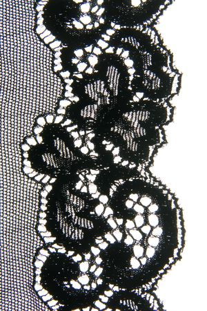 black lace: Close-up of a lovely bit of black lace, good for textures and backgrounds. Stock Photo