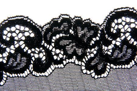 scalloped: Close-up of a lovely bit of black lace, good for textures and backgrounds. Stock Photo