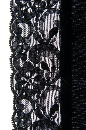 Close-up of a lovely bit of black lace, good for textures and backgrounds. Stock Photo